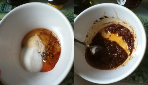 1. When mixed, the marinade ingredients will turn rust red.