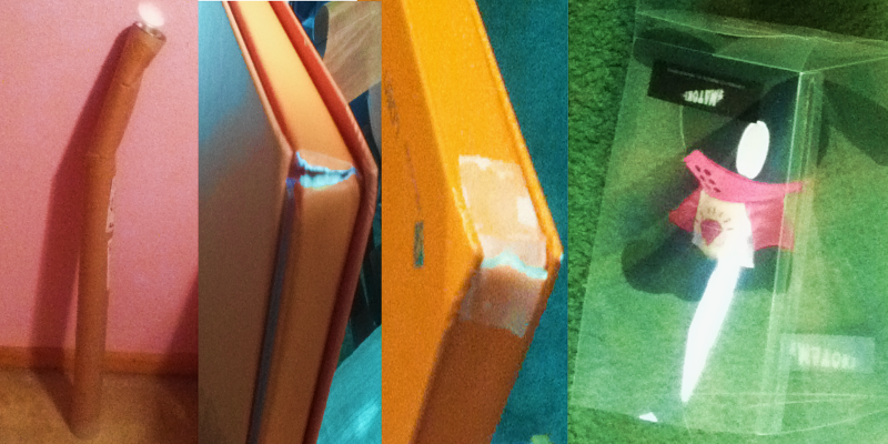 """Left: Two very bent B.A.P """"Unplugged"""" posters. Center: B.A.P """"Crash"""" album with ripped corners. At least someone at the postal service taped it after it apparently crashed? Right: Tatsmato had a rough journey in a very smashed box."""