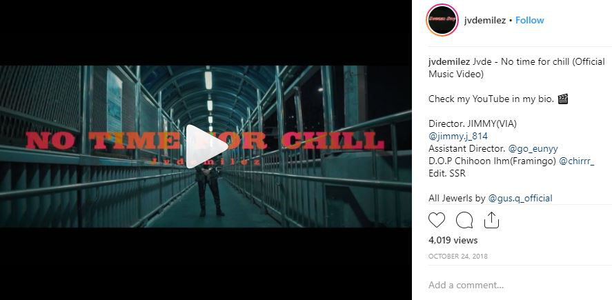 A still of his Jvde's English track 'No Time For Chill' shared on his Instagram account @jvdemilez.